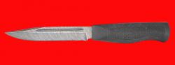 Нож Разведчик-5, клинок дамасская сталь, рукоять пластмасса (цвет черный)