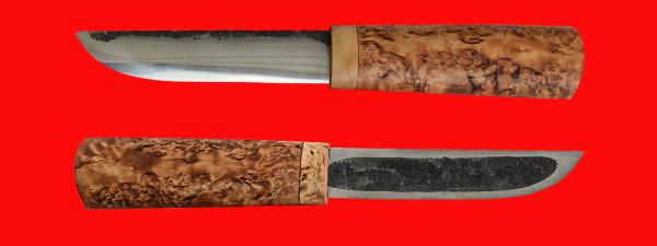 Якутский нож малый 015, ручная ковка, клинок сталь У8, заточка линза, рукоять карельская берёза