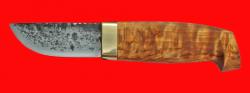 Нож Масленникова №1 ручная ковка, клинок сталь 9ХС, рукоять карельская берёза