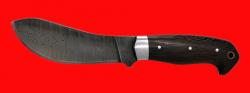 Нож Бобровый-2, цельнометаллический, клинок дамасская сталь, рукоять венге, с отверстием под темляк (ремешок)