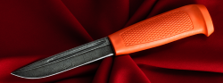 Финка-041, клинок дамасская сталь, рукоять резинопластик (цвет оранжевый)
