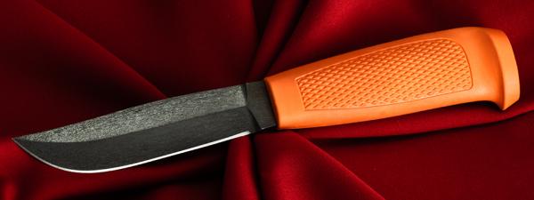 Финка Ромб №1, клинок сталь D2, рукоять резинопластик (цвет оранжевый)