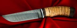 Нож Боровик, клинок дамасская сталь, рукоять береста