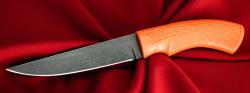 Нож Лис-3, клинок сталь Х12МФ, рукоять резинопластик (цвет оранжевый)