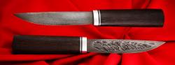 Якутский таёжный нож 001, ручная ковка, клинок дамасская сталь, заточка линза, рукоять венге