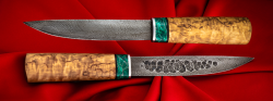 Якутский таёжный нож 003, ручная ковка, клинок дамасская сталь, заточка линза, рукоять карельская берёза