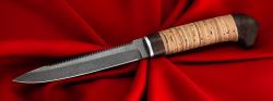 Нож Егерь с серрейтором, клинок сталь Х12МФ, рукоять береста