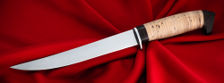 Филейный нож Судак большой, клинок сталь 65Х13, рукоять береста