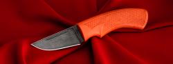"""Нож """"Клык-2"""", клинок дамасская сталь, рукоять резинопластик (цвет оранжевый)"""
