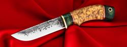 Нож Грибник ручная ковка, клинок сталь 9ХС, рукоять наборная карельская береза, больстер и навершие (цвет зелёный), с отверстием под темляк