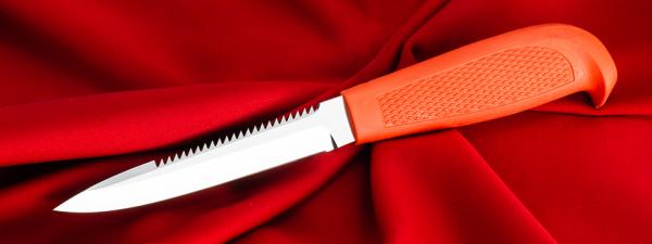 """Нож """"Кижуч-2"""", клинок сталь 95Х18, рукоять резинопластик (цвет оранжевый)"""