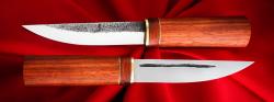 Якутский нож малый 018, ручная ковка, клинок сталь У8, заточка клин, рукоять падук