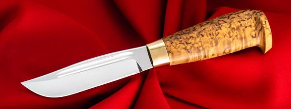 Финский охотничий нож №1, клинок сталь У8, рукоять карельская берёза