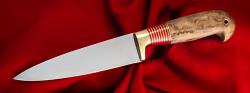 Нож Кухонный 001, клинок сталь 95Х18, рукоять стабилизированная карельская береза (цвет натуральный), с отверстием под темляк (ремешок)