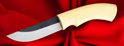 Малый охотничий нож №1 (Грибник-010), клинок сталь D2, рукоять резинопластик (цвет слоновая кость)