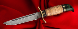 Реплика Финка НКВД, клинок дамасская сталь, рукоять береста