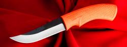 Малый охотничий нож №5, клинок сталь D2, рукоять резинопластик (цвет оранжевый)