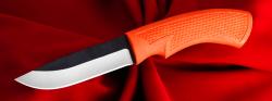 Малый охотничий нож №2, клинок сталь D2, рукоять резинопластик (цвет оранжевый)