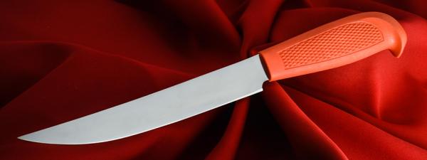 """Филейный нож """"Судак большой-2"""", клинок сталь 65Х13, рукоять резинопластик (цвет оранжевый)"""
