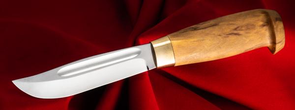 Финский охотничий нож №1, клинок сталь Х12МФ, рукоять карельская берёза