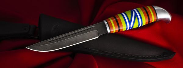 Жиганская финка Ира 007, клинок дамасская сталь, рукоять наборный пластик