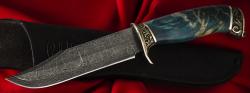 """Нож """"Подарочный №1"""" (ограниченная серия), клинок торцевая дамасская сталь, рукоять стабилизированный кап , мельхиор"""