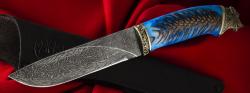 Нож Подарочный №7 (ограниченная серия), клинок торцевая дамасская сталь, рукоять акрил с залитой шишкой, мельхиор