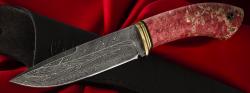 Нож Подарочный №9 (ограниченная серия), клинок торцевая дамасская сталь, рукоять стабилизированный кап