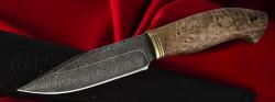 Нож Подарочный №12 (ограниченная серия), клинок торцевая дамасская сталь, рукоять стабилизированный кап