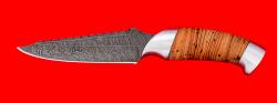 """Нож """"Аллигатор"""", клинок из дамасской стали, рукоять береста, металл"""