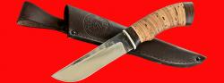 "Нож ""Боровик"", клинок сталь 95Х18 со следами ковки, рукоять береста"