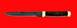 """Нож """"Диверсант №1"""" на основе штык ножа, цельнометаллический, клинок дамасская сталь, рукоять орех, латунь"""