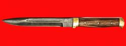 """Булатный нож """"Диверсант №1"""" на основе штык ножа, цельнометаллический, клинок тигельный булат, рукоять орех, латунь"""