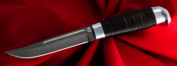 Финка-100, клинок сталь D2, рукоять кожа, металл