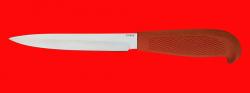 """Нож """"Финка-109"""", клинок порошковая сталь ELMAX, рукоять резинопластик (цвет оранжевый)"""