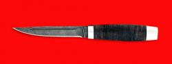 """Нож """"Финка"""", клинок дамасская сталь, рукоять кожа, металл"""