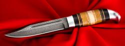 Финка Ф-014, клинок дамасская сталь, рукоять наборное дерево