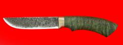 """Охотничий нож """"Грибник"""", ручная ковка, клинок сталь 9ХС, рукоять стабилизированный кап (цвет зелёный)"""