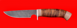 """Охотничий нож """"Медведь"""", клинок дамасская сталь, рукоять кожа"""