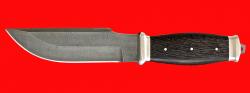 """Нож """"Советский охотничий нож №2"""", цельнометаллический, клинок дамасская сталь, рукоять венге"""