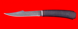 """Нож """"Охотник"""", клинок дамасская сталь, рукоять кожа-венге"""
