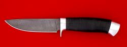 """Охотничий нож """"Панда"""", клинок дамасская сталь, рукоять кожа, металл"""