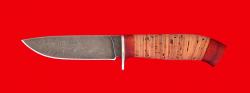 """Охотничий нож """"Панда-2"""", клинок дамасская сталь, рукоять береста-падук"""
