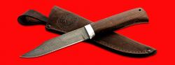 """Нож """"Пантера"""", клинок дамасская сталь, рукоять венге, с отверстием под темляк (ремешок)"""