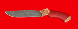 """Нож подарочный """"Питон"""", клинок дамасская сталь, рукоять падук, латунь"""