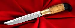 Правильная финка №2, клинок сталь У8, рукоять карельская берёза, мозаичный пин