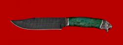 """Охотничий нож """"Промысловый большой"""", клинок дамасская сталь, рукоять стабилизированная карельская береза (цвет зелёный), мельхиор"""