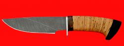 """Охотничий нож """"Рысь-3"""", клинок дамасская сталь, рукоять береста"""