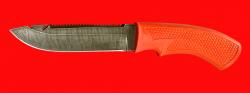"""Нож """"Рыбацкий-5"""", клинок дамасская сталь, рукоять пластмасса (цвет оранжевый)"""