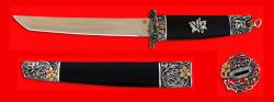 """Разборный нож """"Самурай большой"""", клинок порошковая сталь ELMAX, рукоять венге, деревянный чехол, мельхиор, позолота"""